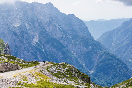 Road to Mangart saddle, highest road in Slovenia.