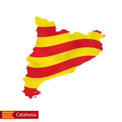 Catalonia map with waving flag of country.