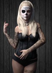 Portrait of a woman with skull make up and tattoos wearing a black corset and net stalkings  . 3d rendering