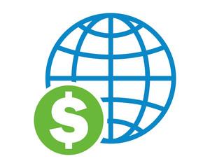 globe dollar currency money price finance economic icon vector finance