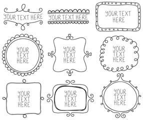 Hand drawn vintage frames, labels concept vector Illustration