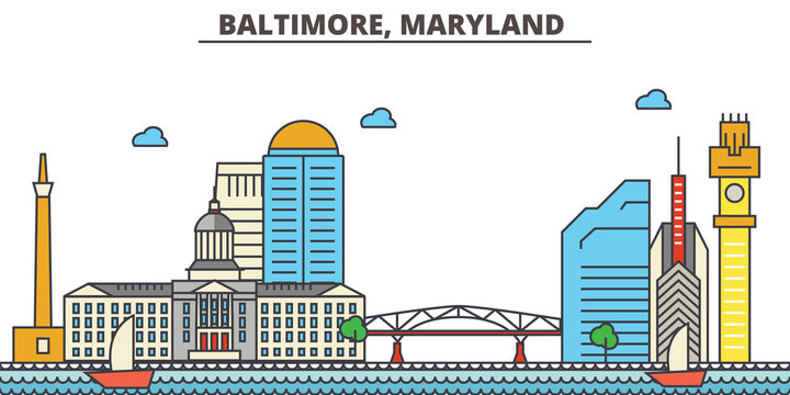 Baltimore, Maryland.City skyline: architecture, buildings, streets, silhouette, landscape, panorama, landmarks. Editable strokes. Flat design line vector illustration concept. Isolated icons