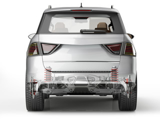 Suv rear suspension system in ghost effect. Back view.