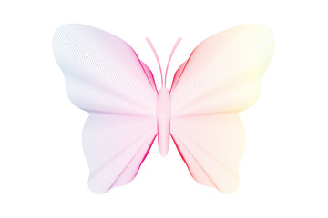 Beautiful soft colorful butterfly. Blend lines effect.