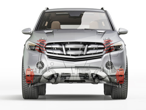 Suv front suspension system in ghost effect. Front view.