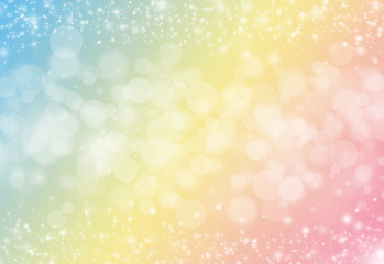 Pastel color glitter sparkles rays lights bokeh festive elegant abstract background.