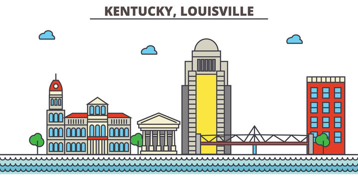 Kentucky, Louisville.City skyline: architecture, buildings, streets, silhouette, landscape, panorama, landmarks. Editable strokes. Flat design line vector illustration concept. Isolated icons