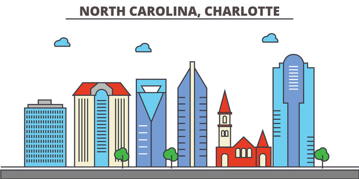 North Carolina, Charlotte.City skyline: architecture, buildings, streets, silhouette, landscape, panorama, landmarks. Editable strokes. Flat design line vector illustration concept. Isolated icons