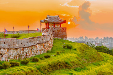 Sunset at Hwaseong Fortress in Seoul, South Korea.