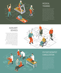 Rehabilitation Isometric Horizontal Banners