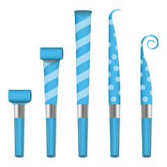 Party Horn Blower Vector. Blue Party Blower Sign. Isolated Illustration