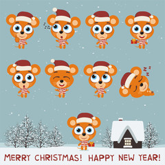 Merry Christmas and Happy New Year! Set funny mouse in various poses for christmas decoration and design. Collection isolated mouse in cartoon style.