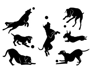 dog playing with a ball. black silhouette. vector