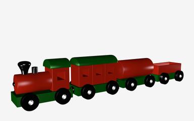 Holzeisenbahn für Kinder in rot und grün