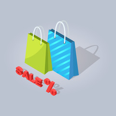 Wall Mural - Sale Isolated Illustration. Shopping Bags Icon