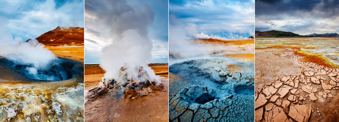 Creative collage geothermal area Hverir (Hverarond) with vertical photo. Location place Lake Myvatn, Krafla, Iceland, Europe.