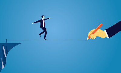 Businessman Walking on Rope. Risk Challenge in Business Concept Wall mural