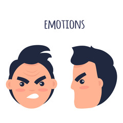 Emotions. Angry Man Faces Isolated Illustration