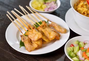 grilled pork satay. Thai food.