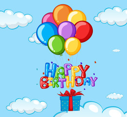 Happy Birthday card with balloons and present