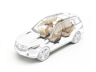 Suv technical drawing showing seats and airbags.