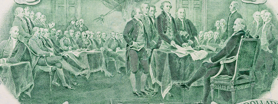 Close-up of signing declaration of independence on two dollar banknote. United States, macro