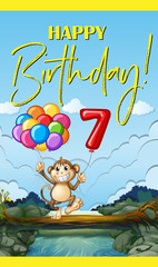Happy birthday with monkey and number seven