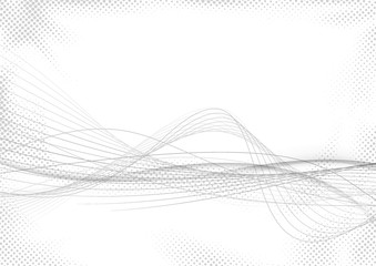 Modern abstract striped swoosh futuristic mild grey lines over white dotted halftone background. Elegant smooth speed gray wave stream