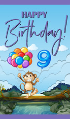 Happy birthday card for nine years old