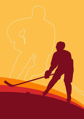 Hockey player vector abstract background winner concept