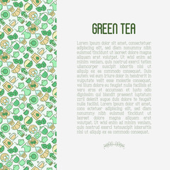Green tea ceremony and sale of tea beverages concept with thin line icons. Vector illustration for web page, banner and print media.