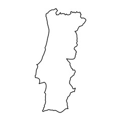 Portugal map of black contour curves of vector illustration