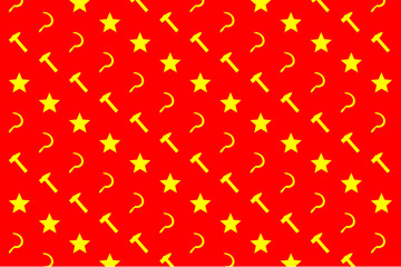Star, sickle and hammer - yellow symbol on red background - vector pattern