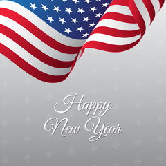Happy New Year banner. USA waving flag. Snowflakes background. Vector illustration.
