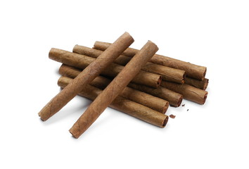 Cigarillos without filter isolated over white background