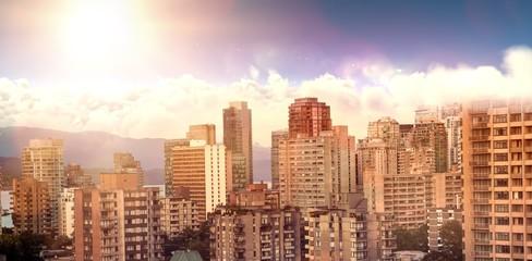 Composite image of scenic view of bright sun over white