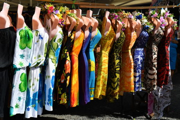 colorful pareo and polynesian dress for sale at market
