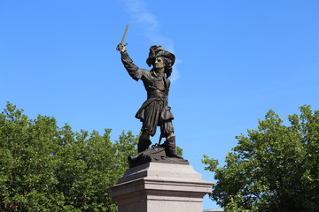 Historical statue of Jean Bart in Dunkirk, France