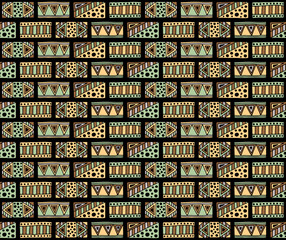 Seamless vector pattern. Geometrical background with hand drawn decorative tribal elements in vintage brown dark colors. Print with ethnic, folk, traditional motifs. Graphic vector illustration.