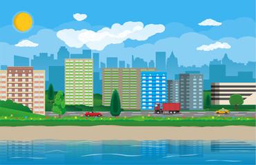 Modern city view. Waterfront, river, embankment