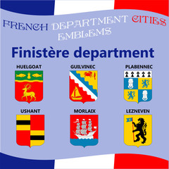 Flags and emblems of French department cities. Cities of Department Finistere