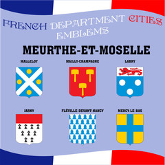 Flags and emblems of French department cities. Cities of Department Meurthe et moselle