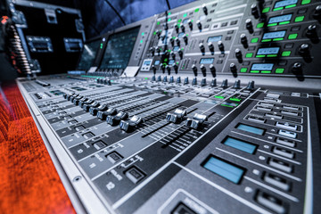 Mixing console. Sound mixer.