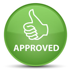 Approved (thumbs up icon) special soft green round button