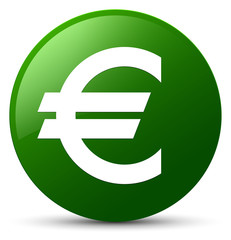 Euro sign icon green round button