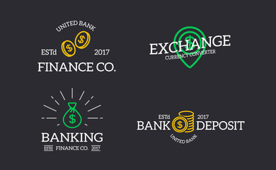 Set of retro vintage money and bank, coin, bag, map pointer with dollar logo or insignia, emblems, labels and badges and other branding objects. Vector line style