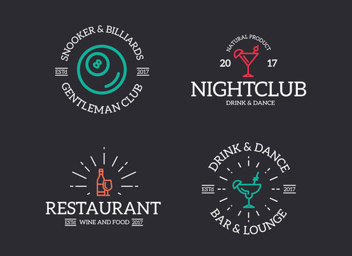 Set of retro vintage night club, billiard, cocktail, disco logo or insignia, emblems, labels and badges and other branding objects. Vector line style