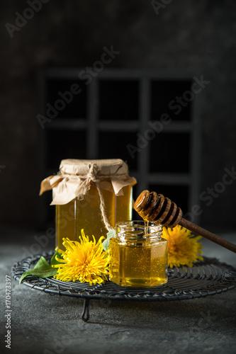 dandelion jam in glass jar