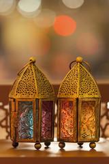 Traditional arabic lanterns lit up in Ramadan