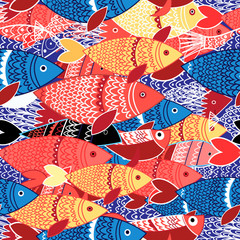 Seamless pattern of colorful fish